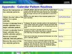 appendix calendar pattern routines