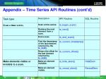 appendix time series api routines cont d