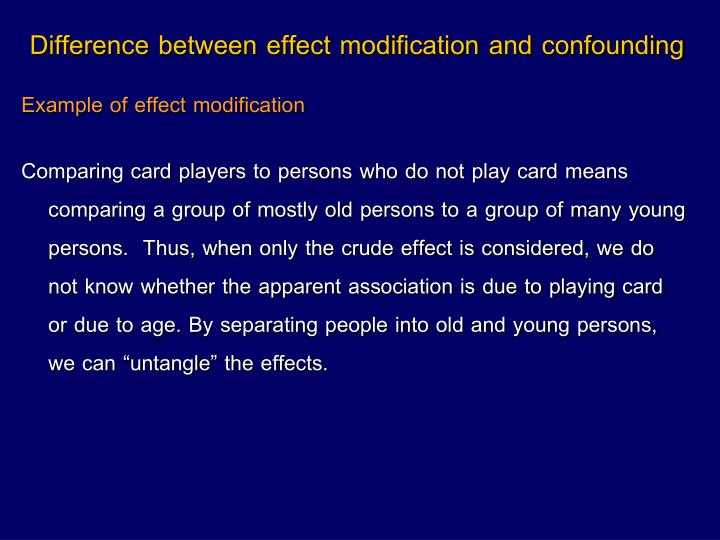 Difference between effect modification and confounding