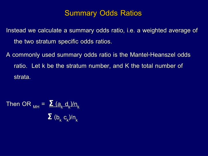 Summary Odds Ratios