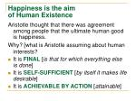 happiness is the aim of human existence