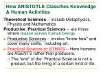 how aristotle classifies knowledge human activities