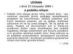 ustawa z dnia 15 listopada 1984 r o podatku rolnym