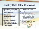 quality data table discussion