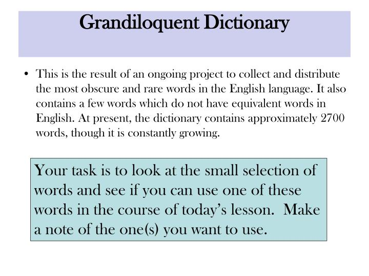 grandiloquent dictionary n.