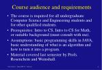 course audience and requirements