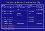 lecture and exercise schedule 2