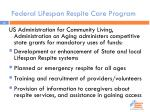 federal lifespan respite care program