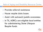 role of aging and disability resource center