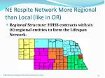 ne respite network more regional than local like in or