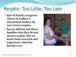 respite too little too late