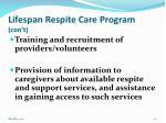 lifespan respite care program con t
