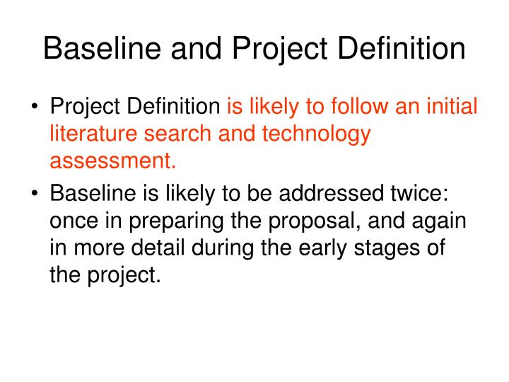 Baseline and Project Definition