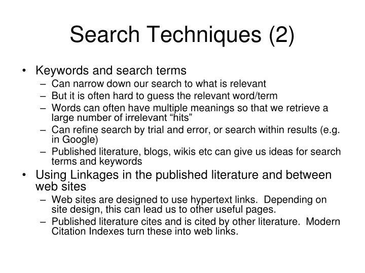 Search Techniques (2)