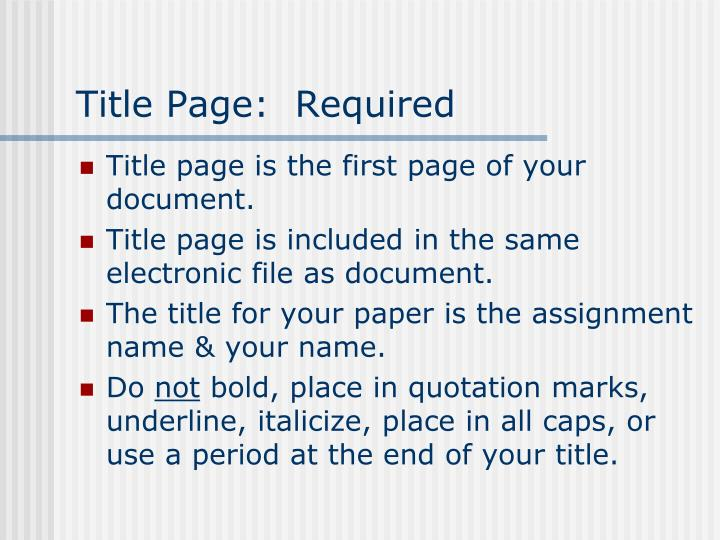 Title page required
