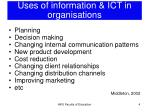 uses of information ict in organisations
