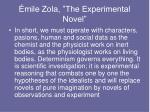 mile zola the experimental novel