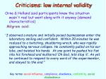 criticisms low internal validity