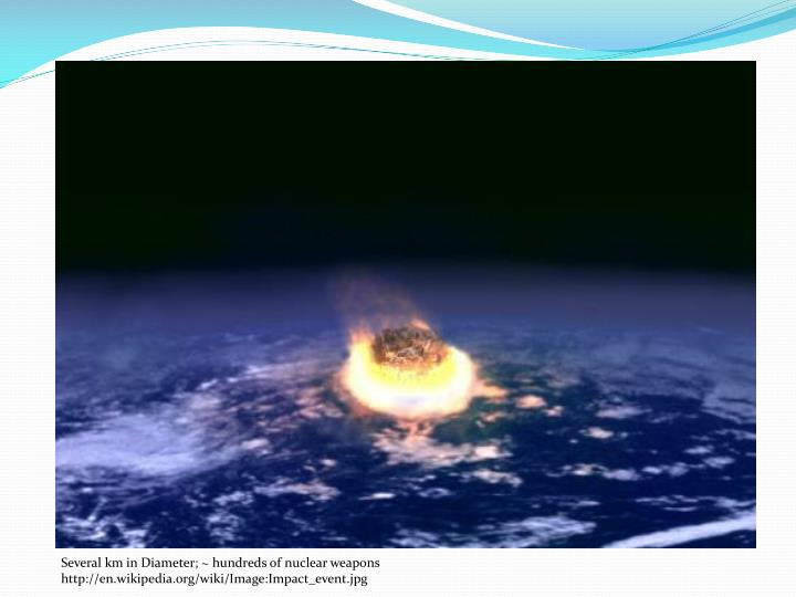 Several km in Diameter; ~ hundreds of nuclear weapons