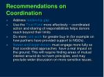 recommendations on coordination