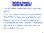 technical details application server