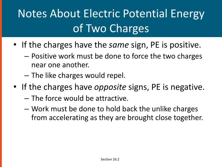 Notes About Electric Potential Energy of Two Charges