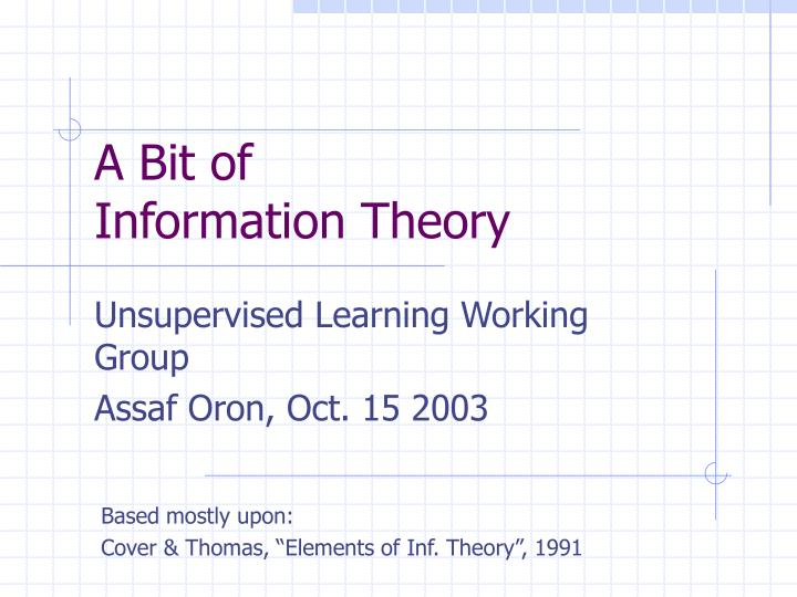 a bit of information theory n.