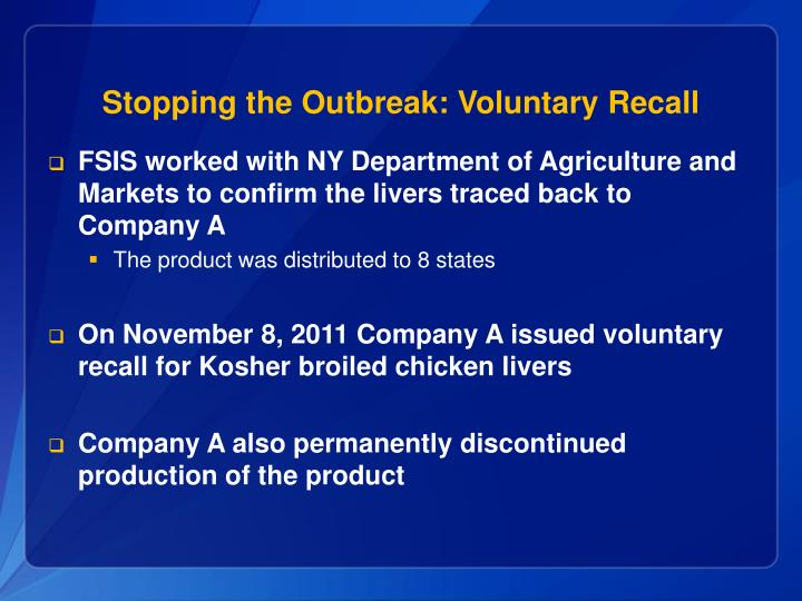Stopping the Outbreak: Voluntary Recall
