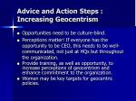 advice and action steps increasing geocentrism