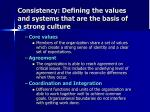 consistency defining the values and systems that are the basis of a strong culture