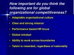 how important do you think the following are for global organizational competitiveness