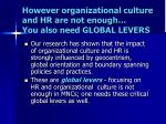 however organizational culture and hr are not enough you also need global levers