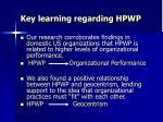 key learning regarding hpwp