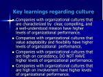 key learnings regarding culture