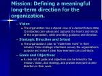 mission defining a meaningful long term direction for the organization