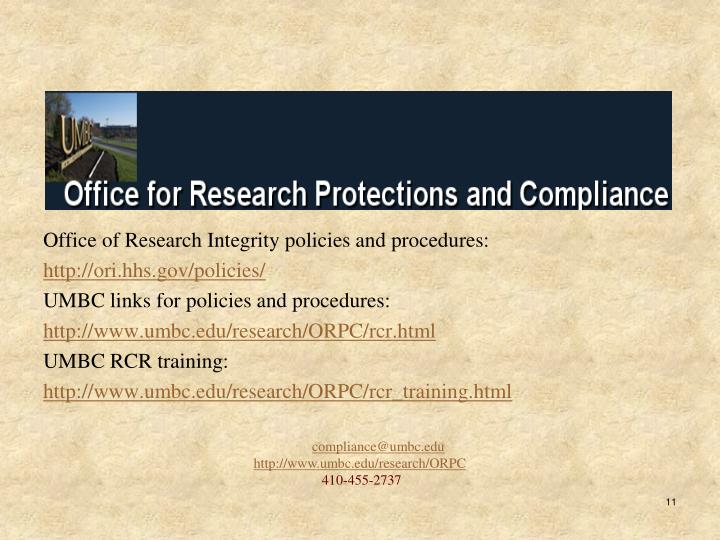 Office of Research Integrity policies and procedures: