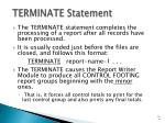terminate statement