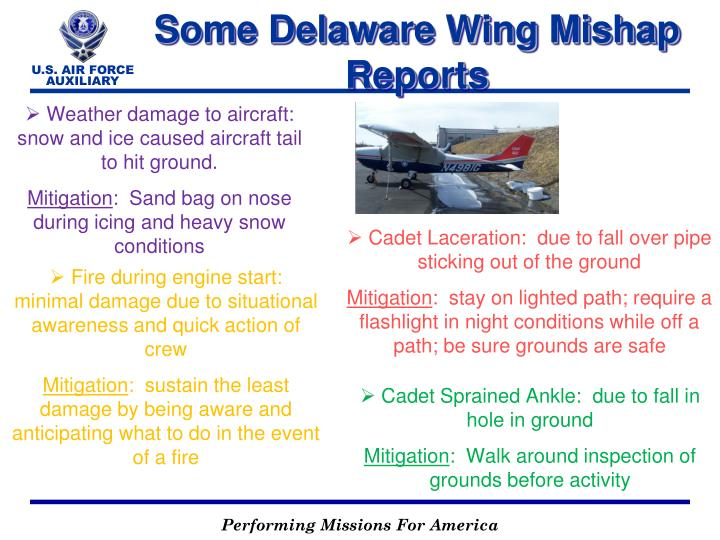 Some Delaware Wing Mishap Reports