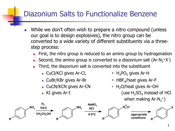 diazonium salts to functionalize benzene n.
