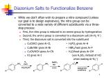 diazonium salts to functionalize benzene