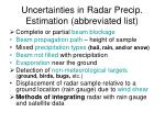uncertainties in radar precip estimation abbreviated list