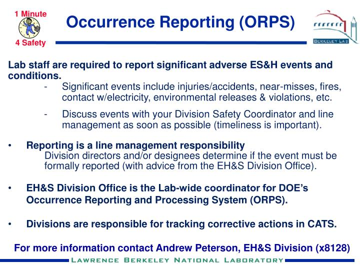 occurrence reporting orps n.