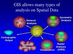 gis allows many types of analysis on spatial data