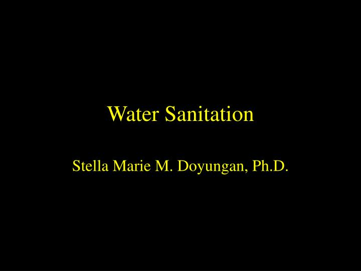 water sanitation n.