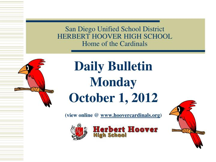 san diego unified school district herbert hoover high school home of the cardinals n.