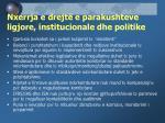 nxerrja e drejt e parakushteve ligjore institucionale dhe politike