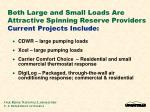 both large and small loads are attractive spinning reserve providers current projects include