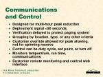 communications and control