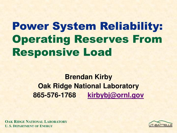 power system reliability operating reserves from responsive load n.