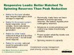 responsive loads better matched to spinning reserves than peak reduction